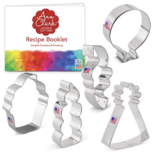 Ann Clark Cookie Cutters 5-Piece Birthday Cookie Cutter Set with Recipe Booklet, Balloon, Party Hat, Cupcake, Candle and Confetti