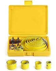 Coronas Perforadoras, Broca Corona Juego Taladro Ø 19 ~ 127mm Sierra Perforadora con Usillos Mandriles Placa de Instalación para Escayola Madera Yeso Plástico PVC Hecho de Acero Endurecido A3