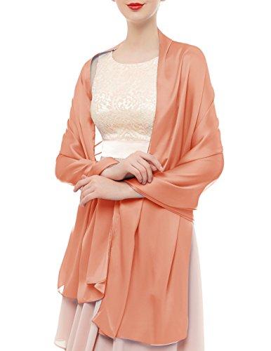 bridesmay Seide Halstuch 180 * 90cm Stola Schal Seidenschal Festlich Hochzeit für Kleider in verschiedenen Farben Shell Pink