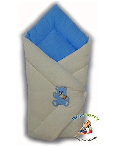 BlueberryShop Cálido Thermo Algodón Con Bucles Sábana Manta Edredón Saco de Dormir Baby Shower Algodón 0-4m (0-3m) (78 x 78 cm) Azul