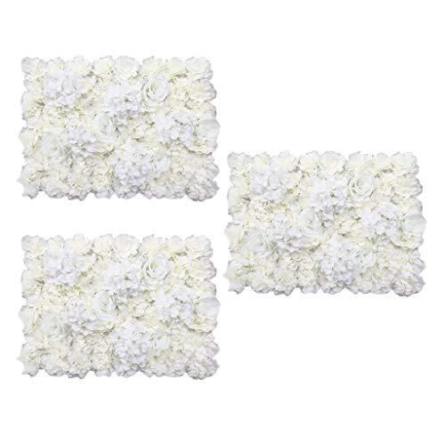 LOVIVER 3pcs Panel De Pared De Flores De Seda Inicio Tienda Boda Arreglo Floral Decoración Crema