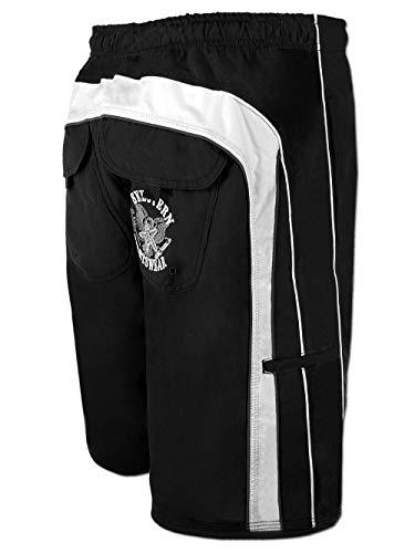 SEESTERN Herren Boardshorts Badeshorts mit Gummizug hinten& Eingrifftaschen XS-3XL /FBA_1744 Schwarz M