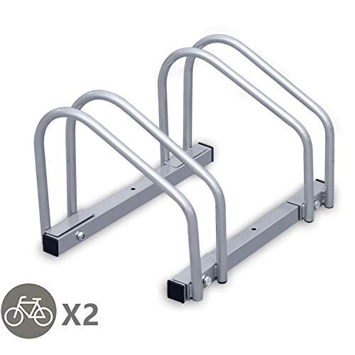 Tolletour Fahrradständer Boden und Wandmontage, Mehrfachständer Fahrradparker, Aufstellständer, Silber (für 2 Fahrräder)
