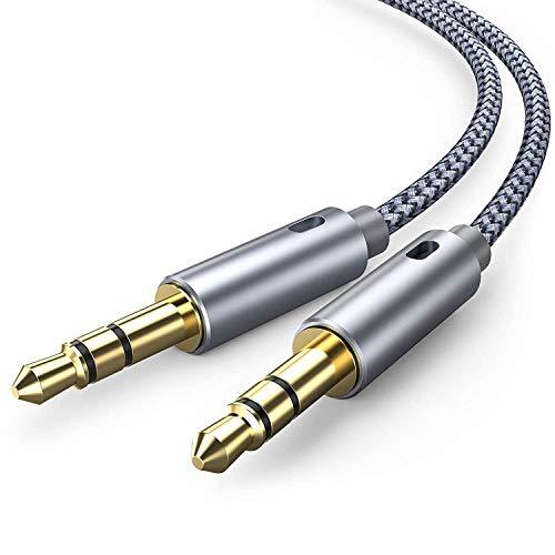 Aux Kabel, [2 Stück, 1.2m] Snowkids 3.5mm Audio Kabel, 3.5mm Klinkenkabel für Kopfhörer iPhone iPod iPad, Echo Dot, Heim/KFZ Stereoanlagen, Smartphones,MP3 Player und Mehr(Greu)