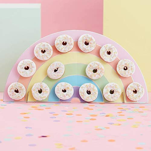 Ginger Ray Rainbow Kids Party Donut/Donut Wall - Soporte para Tarta de cumpleaños (14 Unidades)