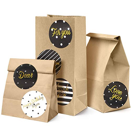 Orlegol Braune Papiertüten, 100 STK Kraftpapier Tüten für Adventskalender, Gastgeschenke, Geburtstag, Hochzeit, Geschenktüten zum selbst Befüllen & Verpacken, Partytüten, Papier-Beutel Set -9x18x5.5cm
