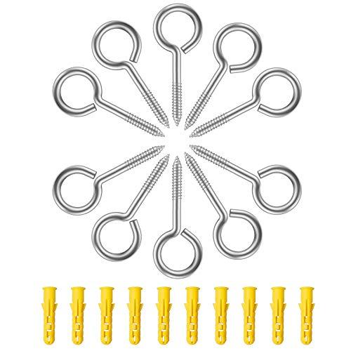 YEYIT Ösenschrauben Edelstahl 10 Stück Hakenschrauben mit Dübel M5 x 65mm Schraubösen Holzgewinde Augenbolzen Schraubenhaken geschlossen Deckenhaken Ringschraube lang