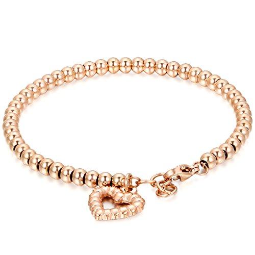 Jewelrywe Bracciale Luck Donna braccialetto acciaio inossidabile, Palle e il cuore hueco per buona fortuna, Oro rosa