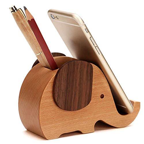 Hyfanstr in legno mini elefante penna/matita con supporto per telefono desktop organizer portaoggetti Elephant-big hole