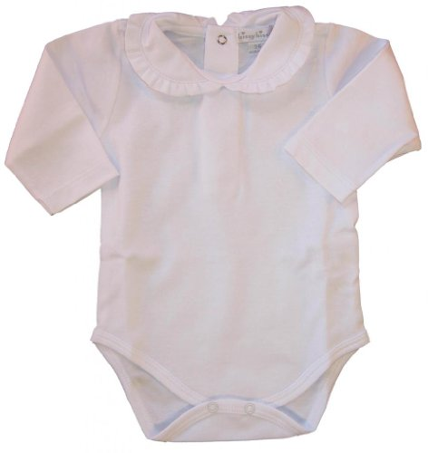 Kissy Kissy Baby Basic Long Sleeve Collared Bodysuit with Ruffle Collar-White-0-3 Months