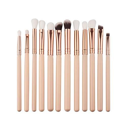 PoplarSun 12pcs Yeux Professionnels Maquillage Pinceaux Poignée Bois Fard à paupières Sourcils Eyeliner Poudre Blending Smudge Brosse (Handle Color : Beige)