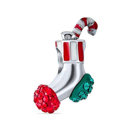 Bling Jewelry Rot Grün Kristall Candy Cane Weihnachten Strumpf Perlen Charme Für Teen Für Frauen 925 Sterling Silber Passt Europäische Armband