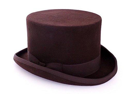 shoperama Steampunk Herren Zylinder mit und ohne Federn Hut Gentleman Bräutigam Kostüm, Größe:58;Farbe:Braun