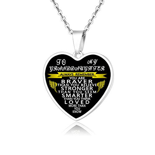 FAYERXL Personalized Gift Ideas You are Braver to My Granddaughter from Grandpa/Grandma Heart Pendant Necklace Birthday (Granddaughter)
