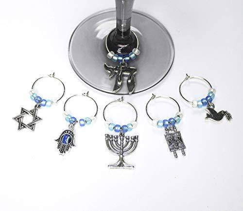 Jewish-Passover-Hanukkah Theme Wine Glass Charms-Set of 6-JEWISH001-6