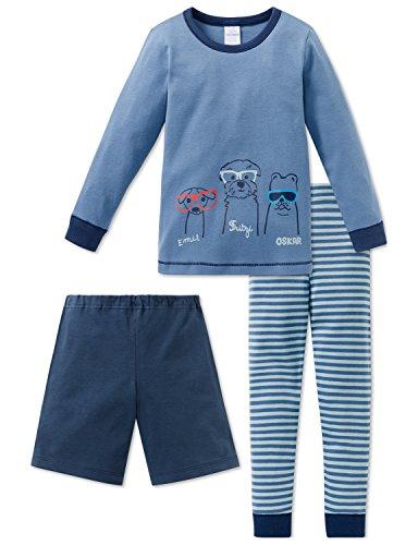 Schiesser Jungen Cool Dogs Kn 3-teilger Anzug Zweiteiliger Schlafanzug, Grün (Mineral 709), 104