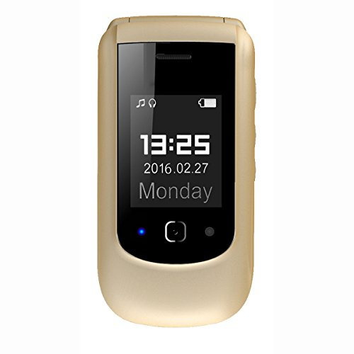 YING TAI T09 2G Double Screen Easy to Use Dual SIM Dual Standby Filp Senior Phone -Big Volume Big Fonts Big Button with SOS, Desktop Charger ( Color : Gold )