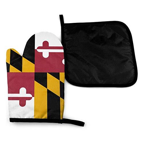 Bandera del estado de Maryland, manoplas para horno de microondas y porta ollas, juego de cubierta, manta con aislamiento térmico, almohadilla, mitones, guante, hornear, pizza, barbacoa, barbacoa