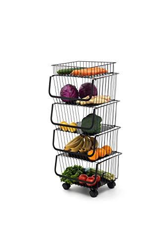 WHITSUNDAY Hanging Fruit Vegetable Home Garage Goods Storage Baskets (Standard Size 16.5', Matt Black(4 Tiers))