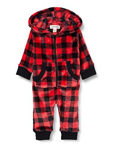 Hatley Little Blue House by Kleinkind, Mädchen Infant Hooded Fleece Jumpsuit Baby, Schlafsack, Buffalo Plaid, 6-12 Monate