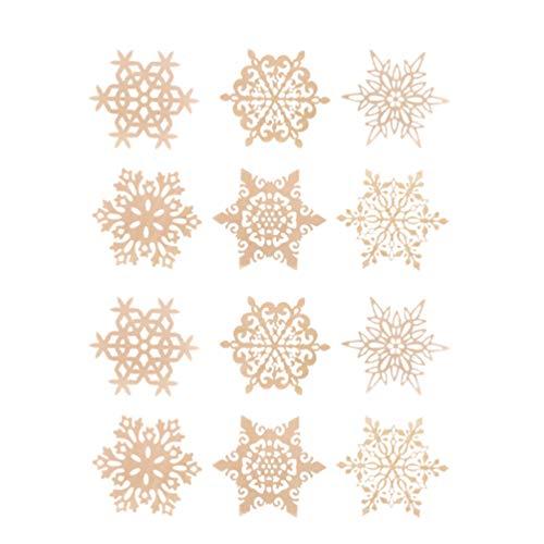 BESTONZON 12 stücke Holz Untersetzer Schneeflocke Tasse Matten Kreative Tasse Matten Tischsets für Weihnachten Getränke Tischdekor (Zufällige Muster)