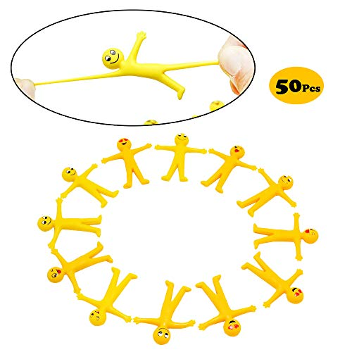 X Hot Popcorn 50 Pcs Emoji Smiley Man Stretchy Toy Great for Stress Reliever Themed Parties School Prizes Birthday Gifts Party Favor and Supply
