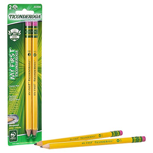 TICONDEROGA My First Pencils, Wood-Cased #2 HB Soft, Pre-Sharpened with Eraser