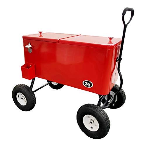 AXI Retro Getränkekühler Rot | Bollerwagen / Kühlwagen / Kühler mit Rollen - 76 liter | Fahrbare Kühlbox für den Garten / Outdoor