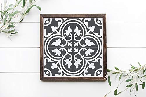 Ced454sy Fliese 2 schwarzes Schild 30,5 x 30,5 cm gerahmtes Holzschild Faux Zement Fliesenschild Fliesen Bauernhaus Dekor