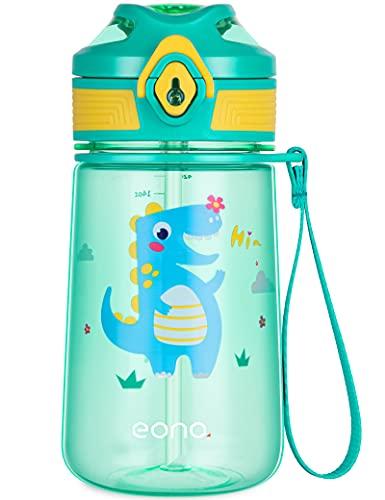 Amazon Brand - Eono Botella de Agua Niños, 420ml Reutilizable Tritan Plástico sin BPA Botella Agua Niños a Prueba de Fugas, con Pajita y Marcador, para Aire Libre Escuela, Deportes (Verde, Dinosaurio)