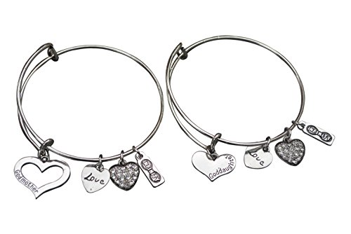 Infinity Collection Godmother, Goddaughter Bangle Bracelet Set- Godmother Gifts- Godmother Jewelry for Godmothers & Goddaughters