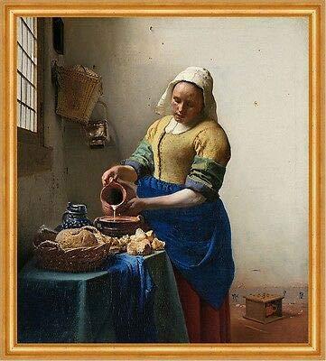 Kunstdruck The milkmaid Jan Vermeer Bauern Milch Krug Schale Magd Brot Essen B A2 02469