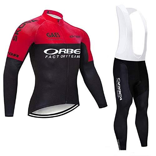 Conjunto Bicicleta Hombre Invierno Mangas Largas, Ropa Maillot Ciclismo Polar Térmico y Pantalones MTB con 5D Gel Acolchado