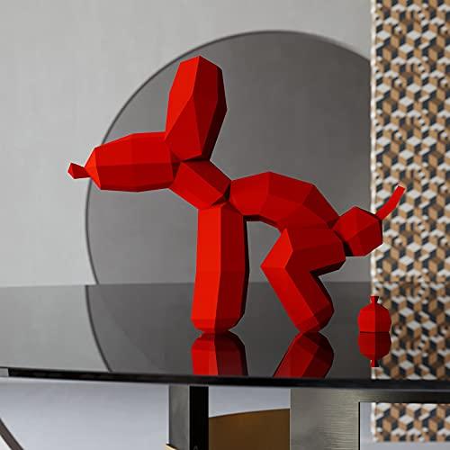 Yona DIY, Perro Globo Rojo Papercraft kit, Kit de origami 3D para montar a mano, 3D Puzzle para la decoración de hogar,Trofeo de papel, Regalo de papel,Bricolaje en papel, Rompecabezas 3D,Balloon Dog
