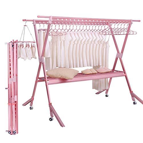 DERUKK-TY Tendedero plegable tendedero ajustable para secadora de ropa con ruedas rodantes 40 agujeros de aire 1 zapatero baño