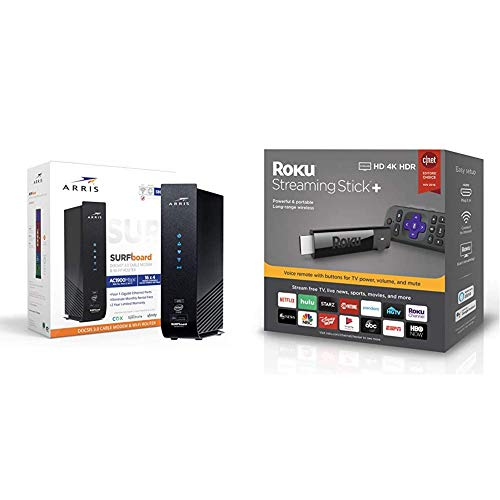 Arris Surfboard (16x4) Docsis 3.0 Cable Modem Plus AC1900 Wi-Fi Router,Black & Roku Streaming Stick+ | HD/4K/HDR Streaming Device with Voice Remote with TV Controls (Updated for 2019)