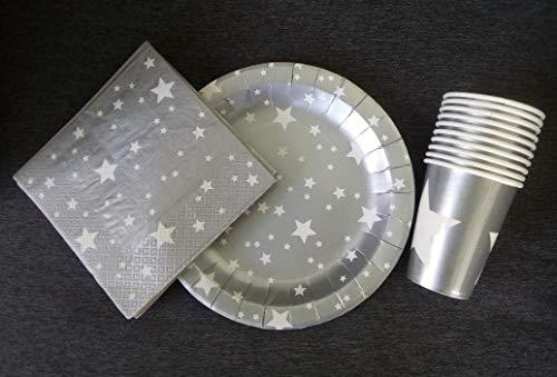 saxxdeluxe Juego de 30 servilletas de Navidad con platos, decoración para fiestas de cumpleaños infantiles, color plateado