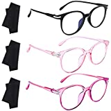 Ruisita 3 Pack Blue Light Blocking Glasses Anti Glare Glasses Computer Reading Gaming Glasses with Glasses Cloth for Women or Men Fashion Accessories
