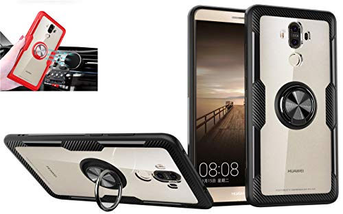 Huawei Mate 9 Transparent Case,360 Rotating Ring Kickstand Protective Case,TPU+PC Shock Absorption Double Protection Cover Compatible with [Magnetic Car Mount] for Huawei Mate 9 Case (Black/Black)