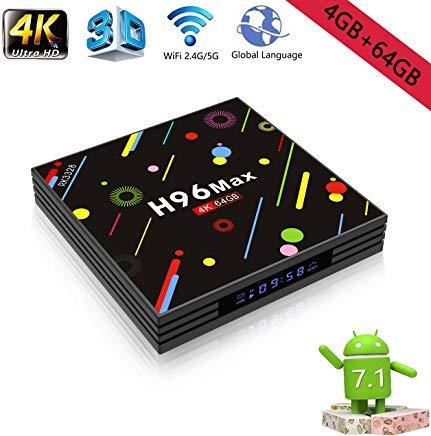 Android 8.1 4K Smart TV Box 4G+64GB H96 Max Display Screen RK3328 UHD Quad-Core WiFi Ultra HD H.265 Wireless Keyboard Bluetooth