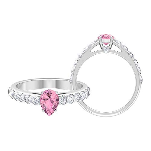 1.50 CT Pink Tourmaline Solitaire Ring with Moissanite Side Stones (5X7 MM Pear Cut Pink Tourmaline), 14K White Gold, Size:UK W