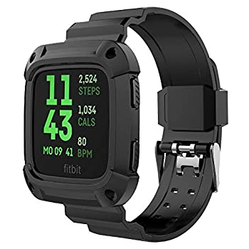 Compatible for Versa & Versa Lite Bands and Case [Rugged Pro] Resilient Protective Case with Replacement Wristband Strap for Versa  Black+Black