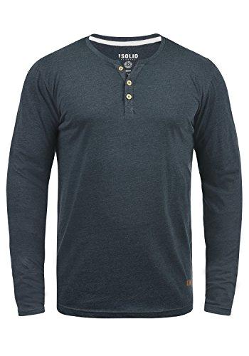 !Solid Volko Herren Longsleeve Langarmshirt Shirt Mit Grandad-Ausschnitt, Größe:L, Farbe:INS BLU M (P8991)