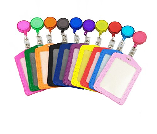 yueton Pack of 10 PU Leather ID Badge Card Holder with Retractable ID Badge Reel