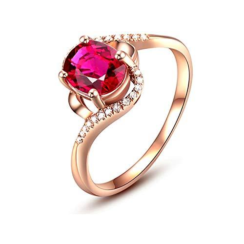 AmDxD oro rosa de 18 K oval-shape Red Ruby