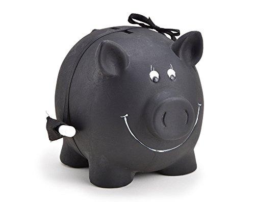 Sparschwein zum Beschriften mit Kreide, Spardose mit Schloss und Schlüssel aus Ton in schwarzem Tafellack/Kreidetafel - Sparschwein aus Keramik - WoMa