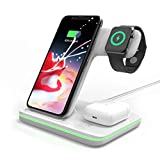 Omni Dock | 3 in 1 Wireless Charging Station, 15W QI Fast Charger Stand for Apple Watch Series 1/2/3/4/5, AirPods Pro, Compatible with iPhone 11 Series/XS MAX/XR/XS/X/8/8 Plus/Samsung (White)