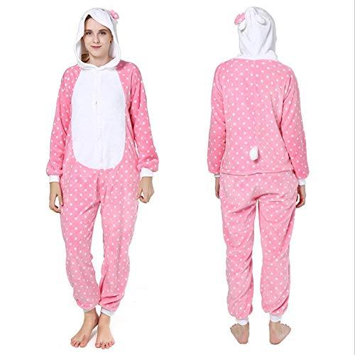 FZH Pijama Poodle Kigurumis Mujeres Adultas Pareja Onesie Animal marrón Perro Disfraz de Dibujos Animados una Pieza Carnaval Fiesta Pijama Traje-Gato Rosa_L