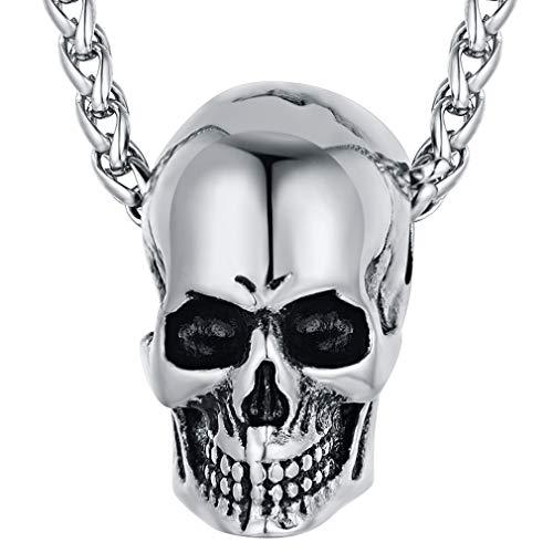 FaithHeart Cráneo Hueco Collar Cool Punk Rock Cabeza de Esqueleto Col