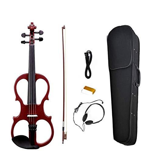 Full size violino elettrico silenzioso in legno massello violino violino rosso scuro con parti in ebano-preamplificatore di alto livello con custodia di alta qualità ACDES